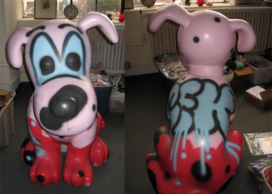pink dog graffiti piece