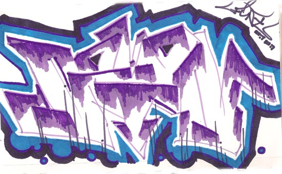 seven graffiti piece